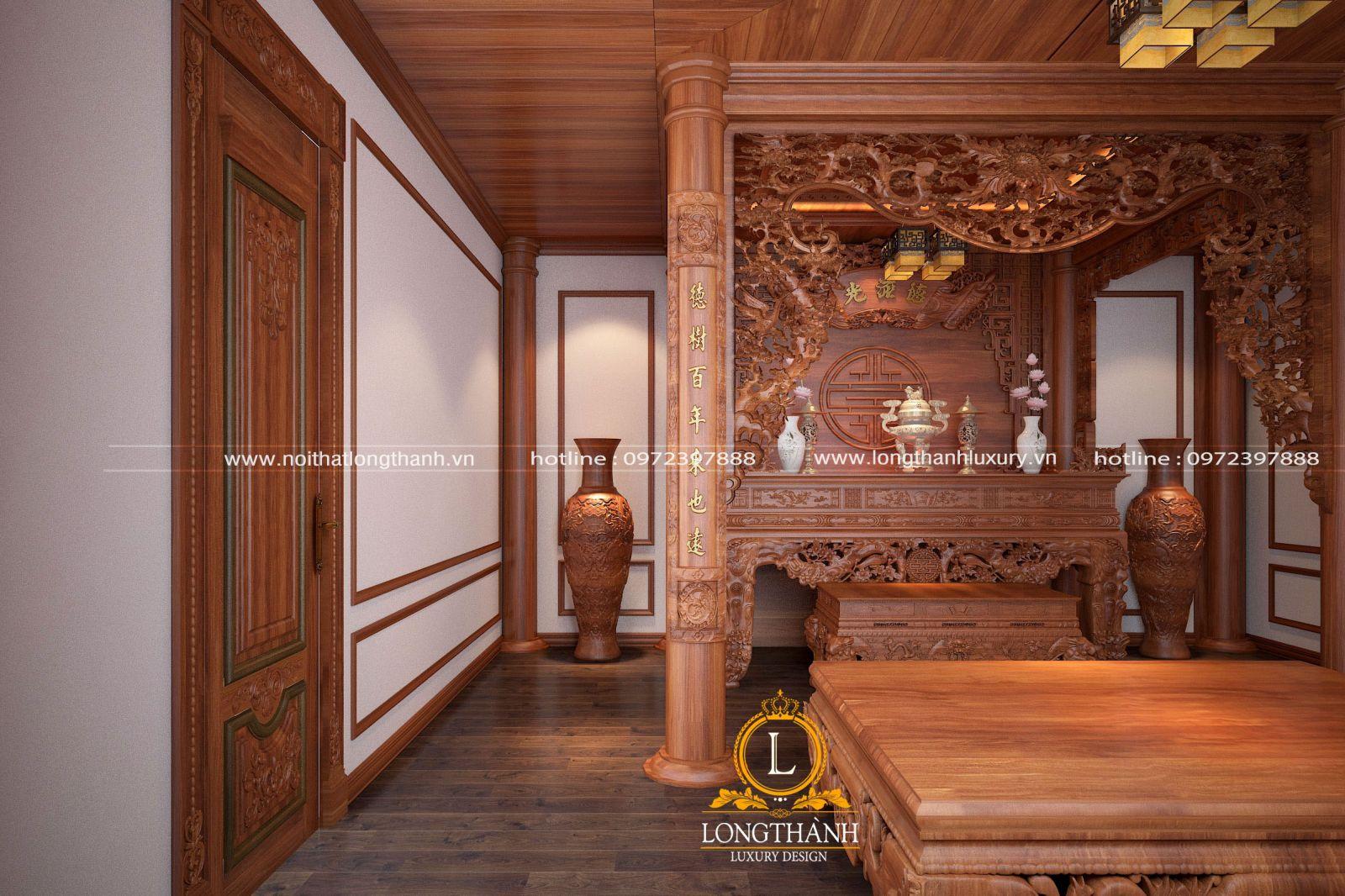 Nội thất phòng thờ gỗ Gõ đỏ