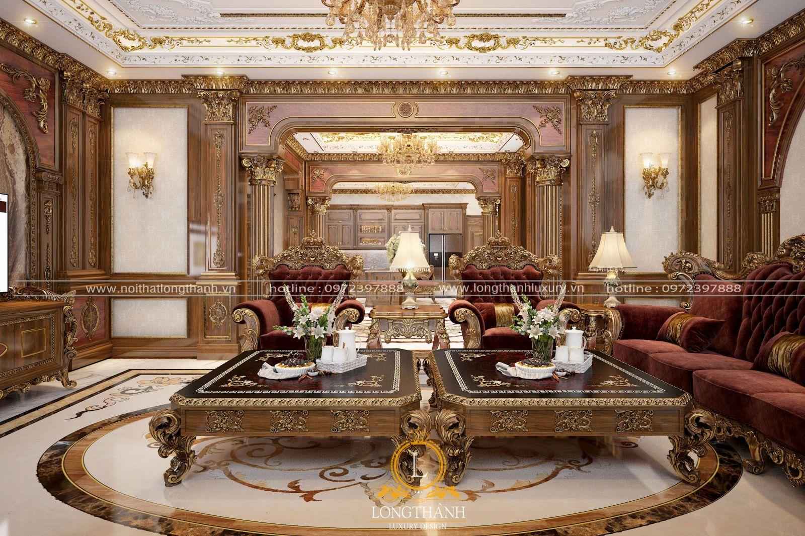 Bộ Sofatân cổ điển với tone màu phù hợp với cả căn phòng
