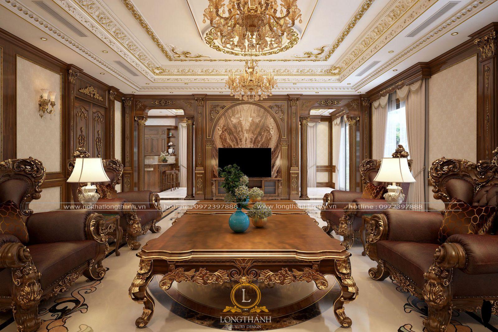 Một phòng khách biệt thự đẹp với những vật liệu cao cấp