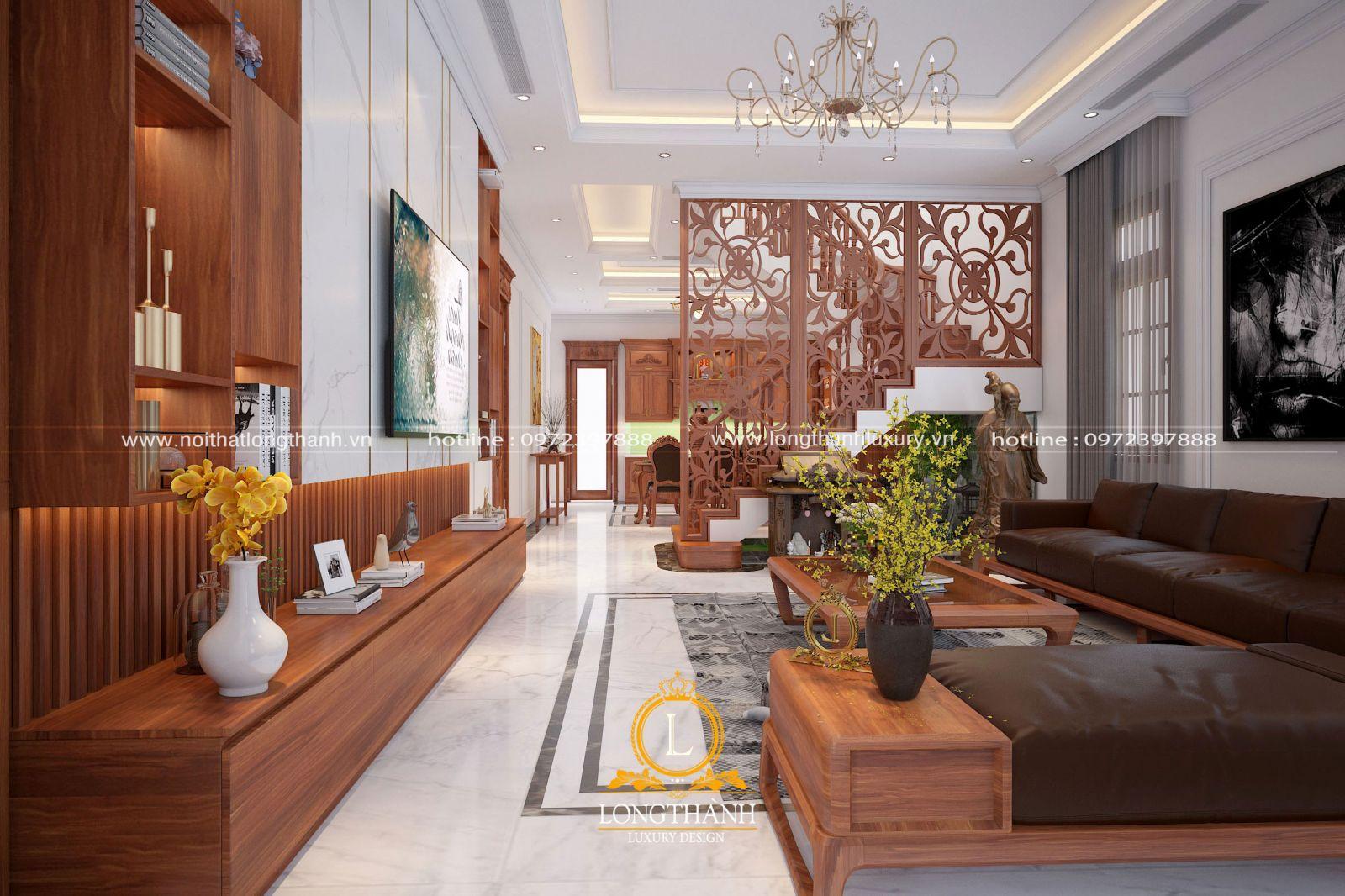 Thiết kế phòng khách biệt thự tân cổ điển theo hướng hiện đại