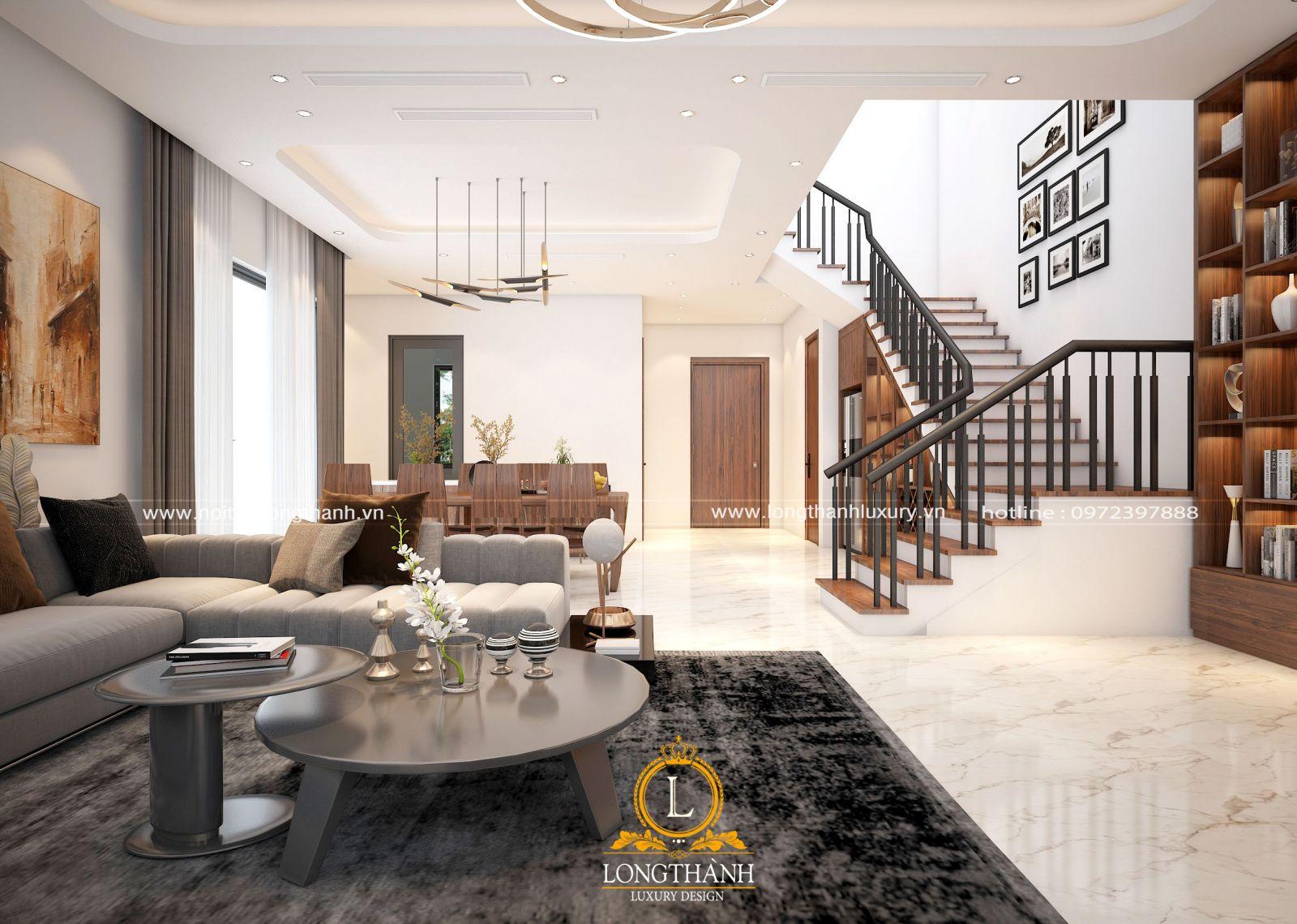 thiết kế nội thất phòng khách liền phòng ăn