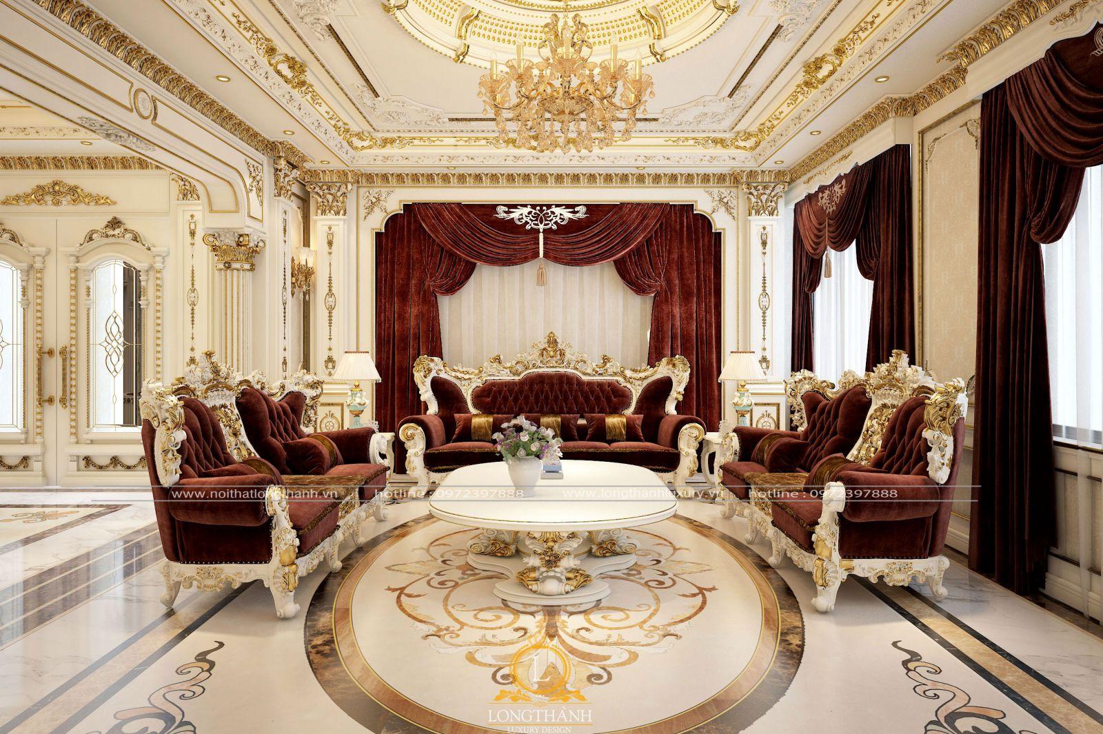 Bộ Sofa với chất liệu gỗ Gõ đỏbọc vải gấm cao cấp cho phòng khách biệt thự