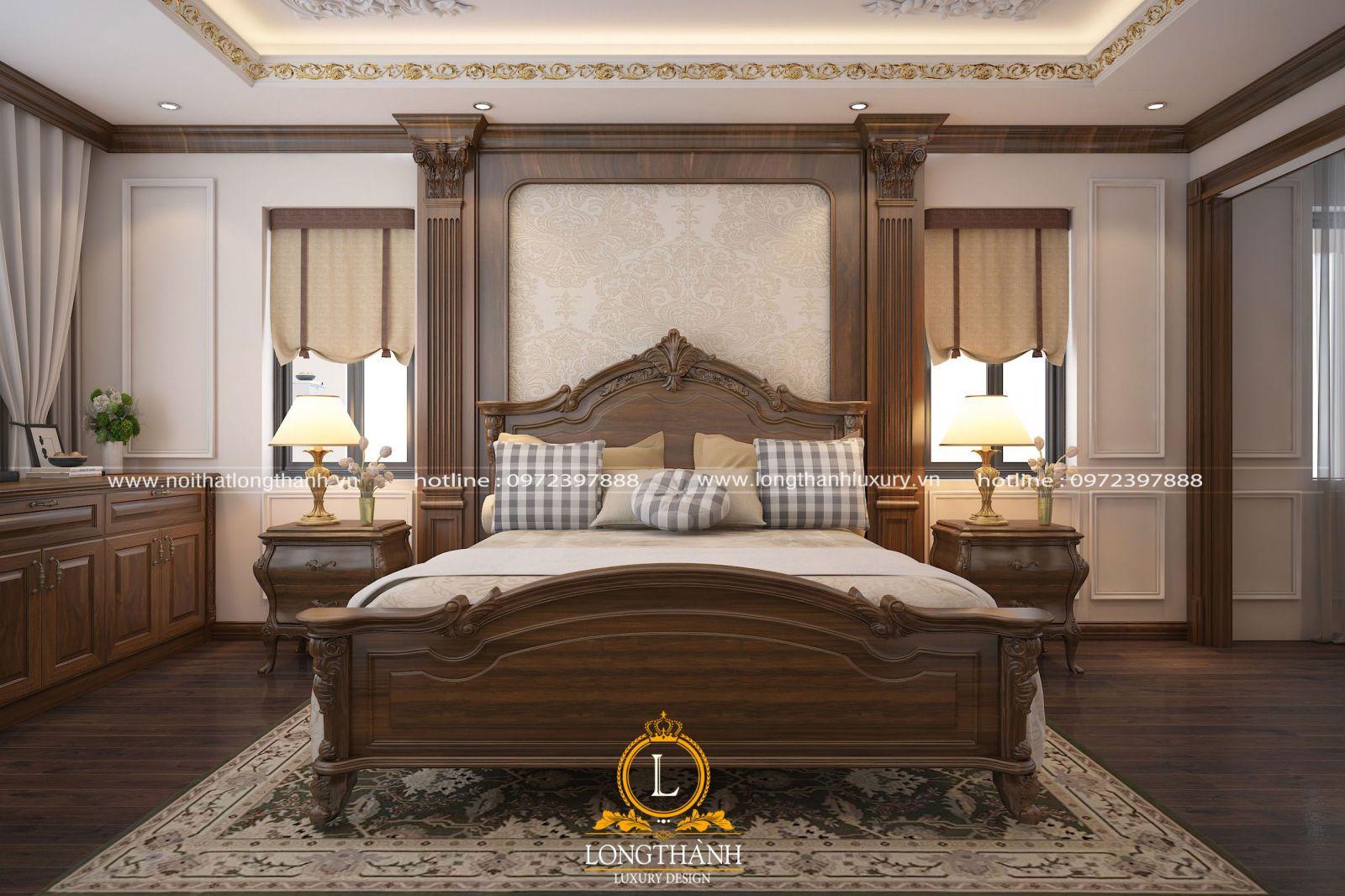 Giường ngủ phong cách tân cổ điển được làm từ gỗ Sồi cao cấp