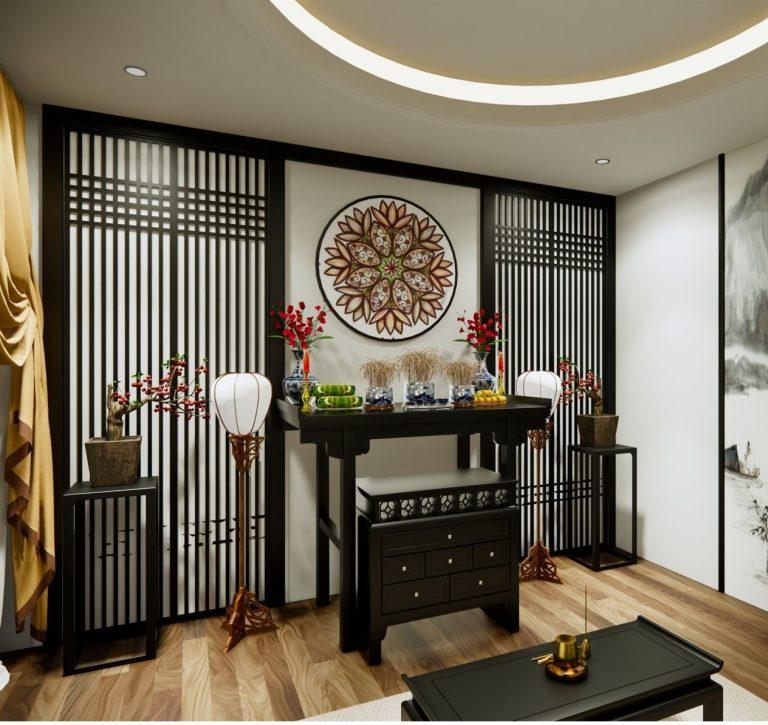 Phòng thờ thiết kế riêng tại tầng 1 với phong cách thiết kế của Nhật Bản