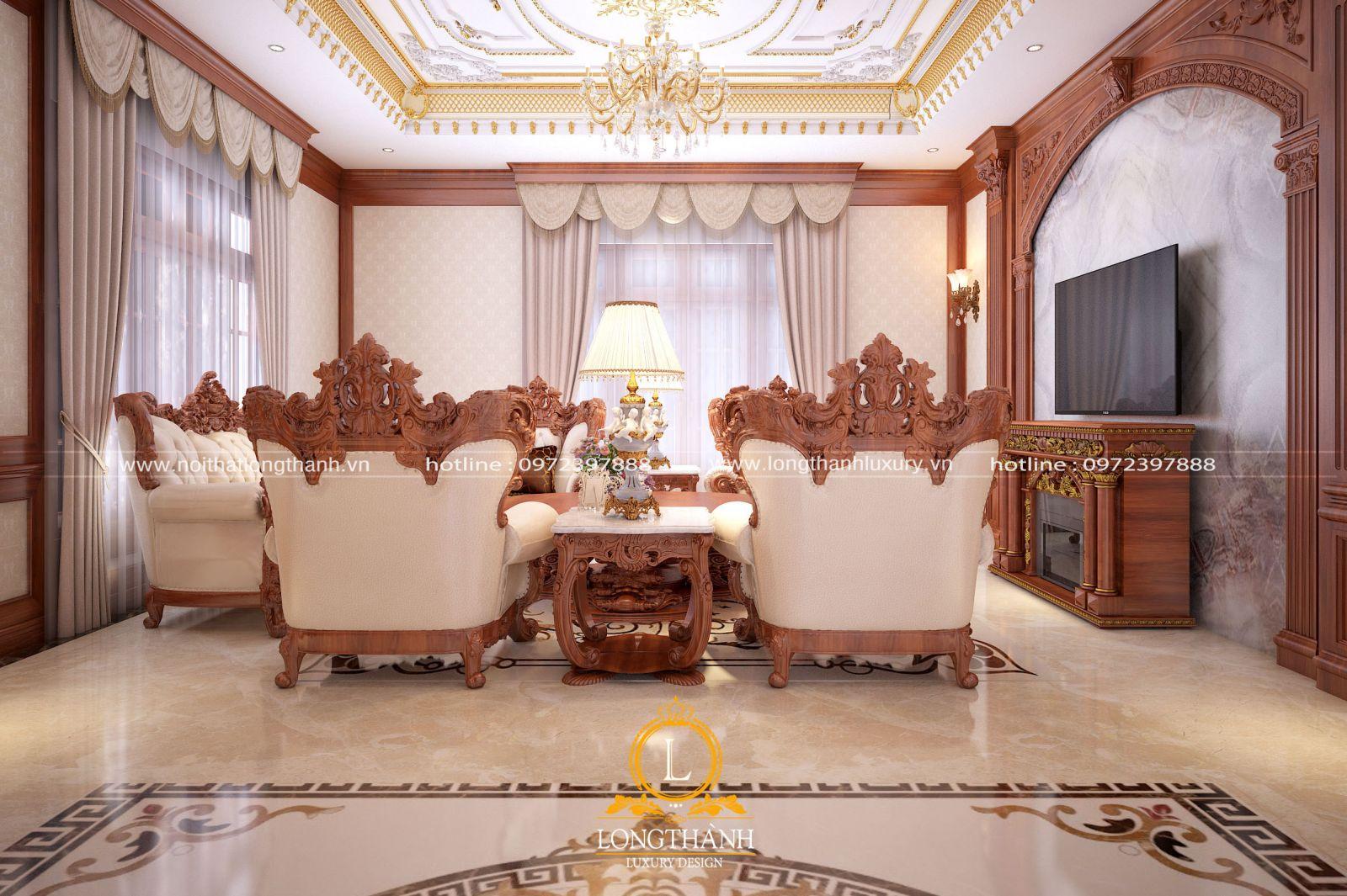 Mẫu thiết kế sofa hoa văn đục nổi hai mặt cầu kì