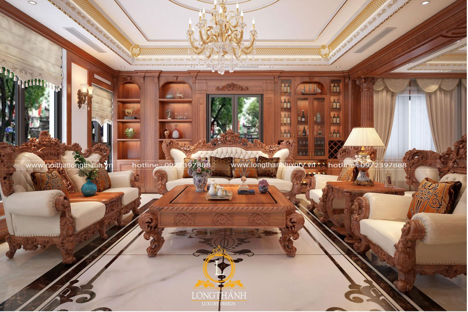 sofa tân cổ điển đẹp cho phòng khách