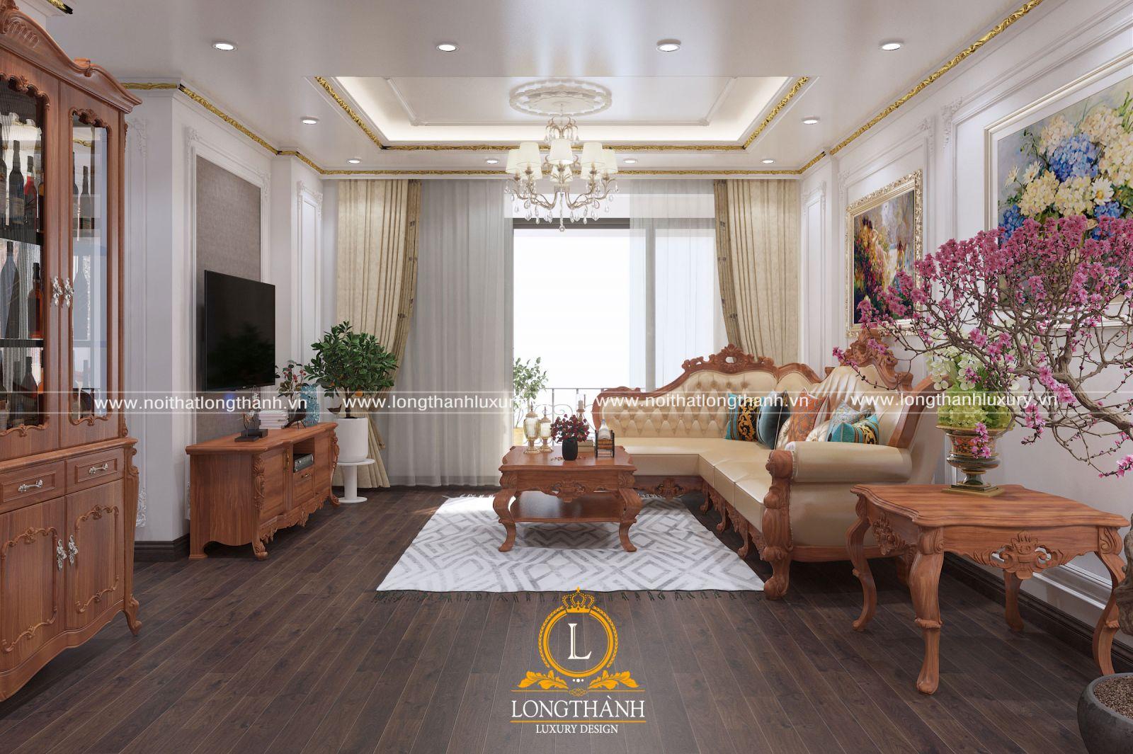 Mẫu thiết kế sofa tân cổ điển phòng khách chung cư với tông màu nâu của gỗ tự nhiên