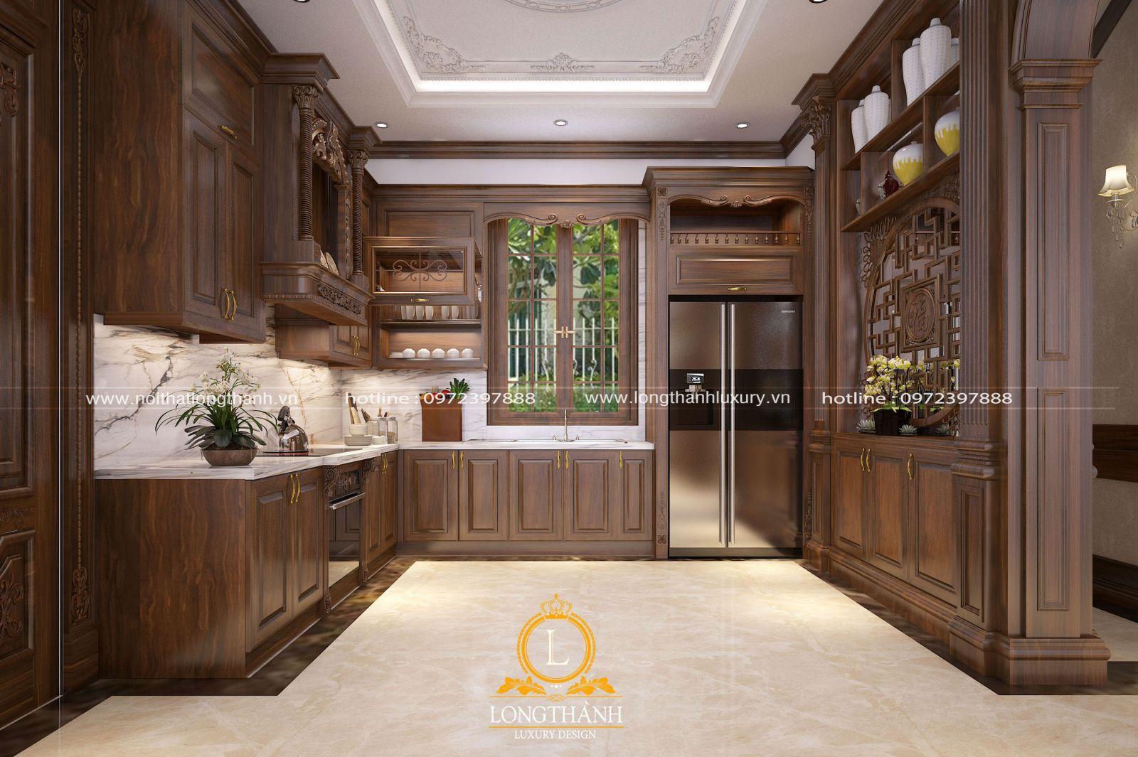 Tủ bếp tân cổ điển gỗ tự nhiên cao cấp cho nhà biệt thự hiện đại