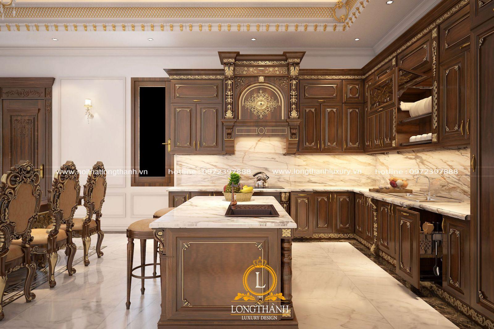 Tủ bếp gỗ gõ thiết kế theo phong cách tân cổ điển là mẫu tủ bếp đẹp nhất