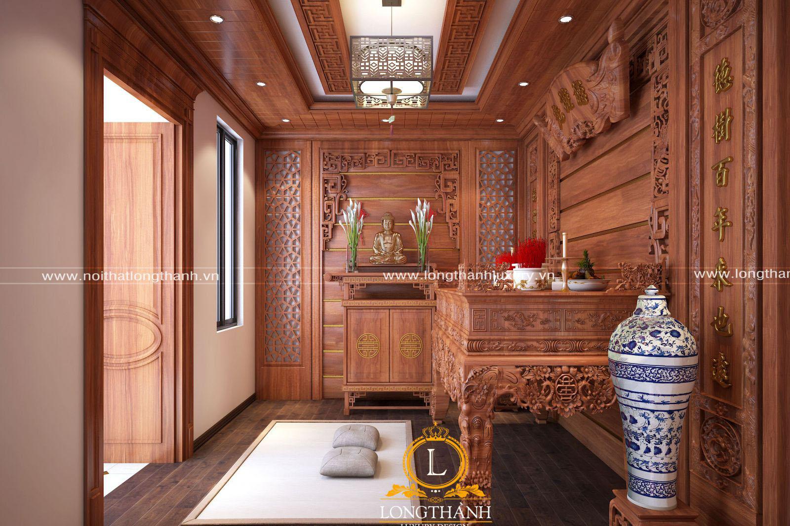 Trần phòng thờ màu gỗ gõ đỏ tự nhiên kết hợp đồng bộ với màu sắc cả không gian