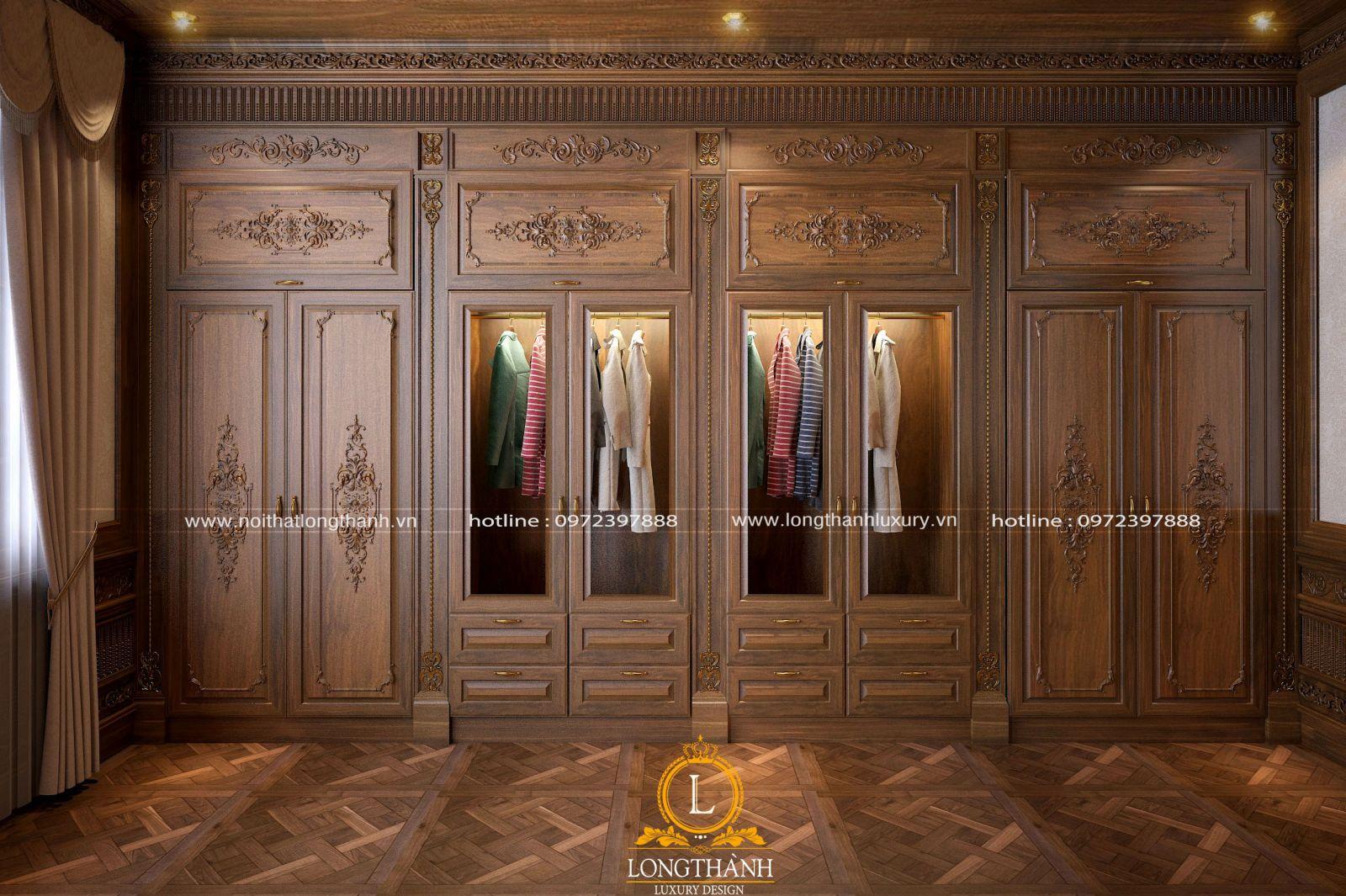 Tủ áo tân cổ điển cũng được trạm trổ cầu kỳ