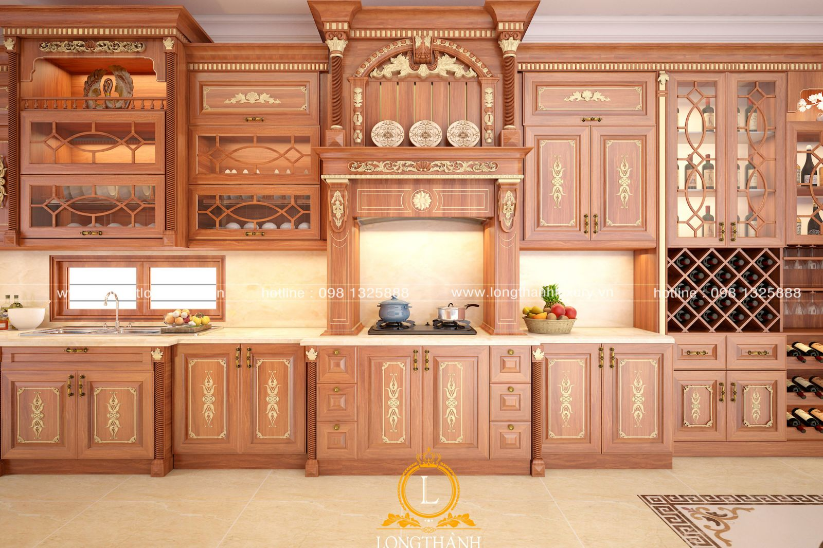 Thiết kế tủ bếp tân cổ điển chữ I làm từ chất liệu gố Gõ cao cấp