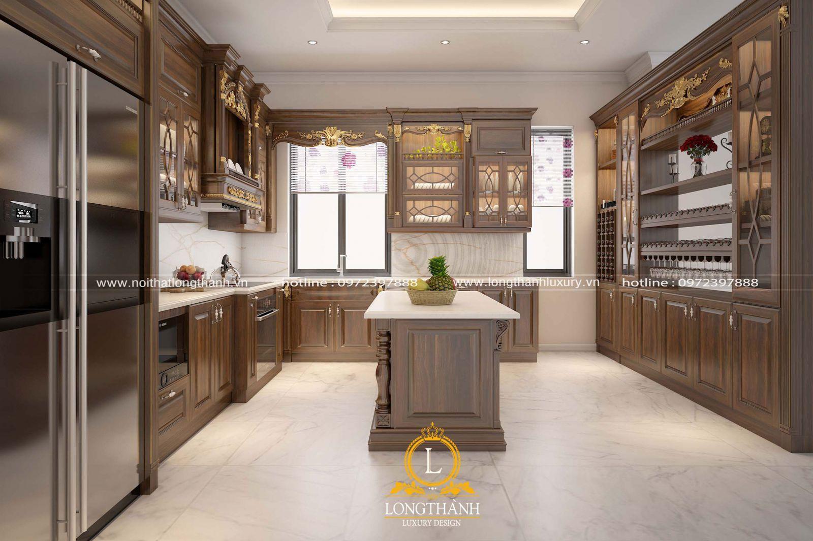 Mẫu tủ bếp chữ L cho phòng bếp tân cổ điển ấm cúng