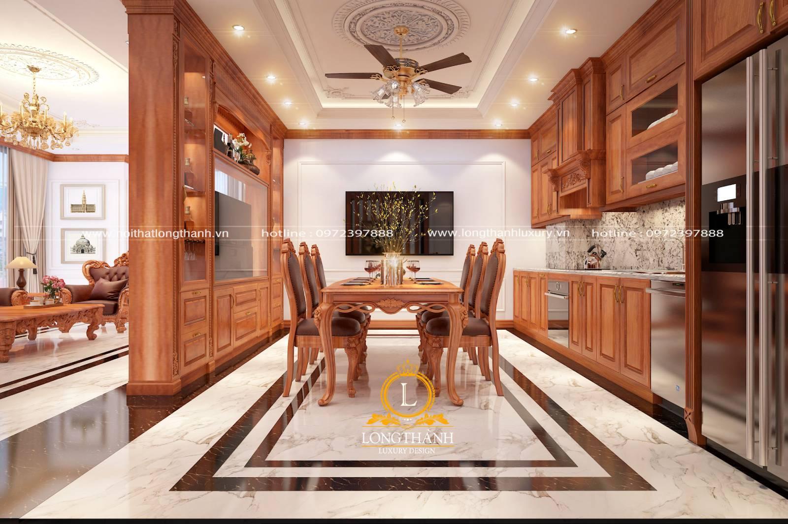 Tổng thể nội thất phòng bếp hài hòa cân đối với mẫu tủ bếp gỗ Gõ đỏ chữ I