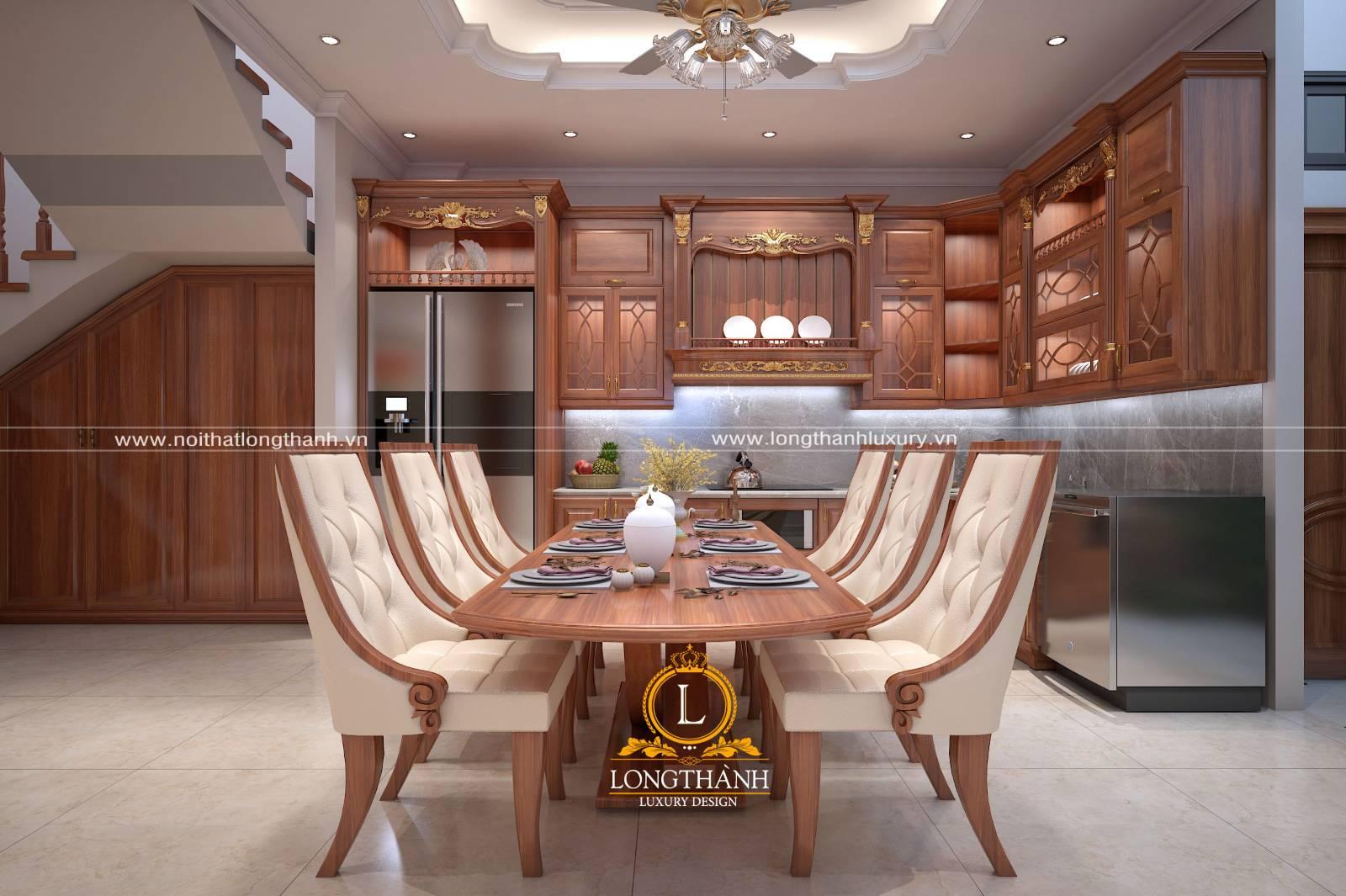 Mẫu tủ bếp gỗ Gõ đỏ kết hợp đồng bộ với bộ bàn ghế ăn phòng bếp