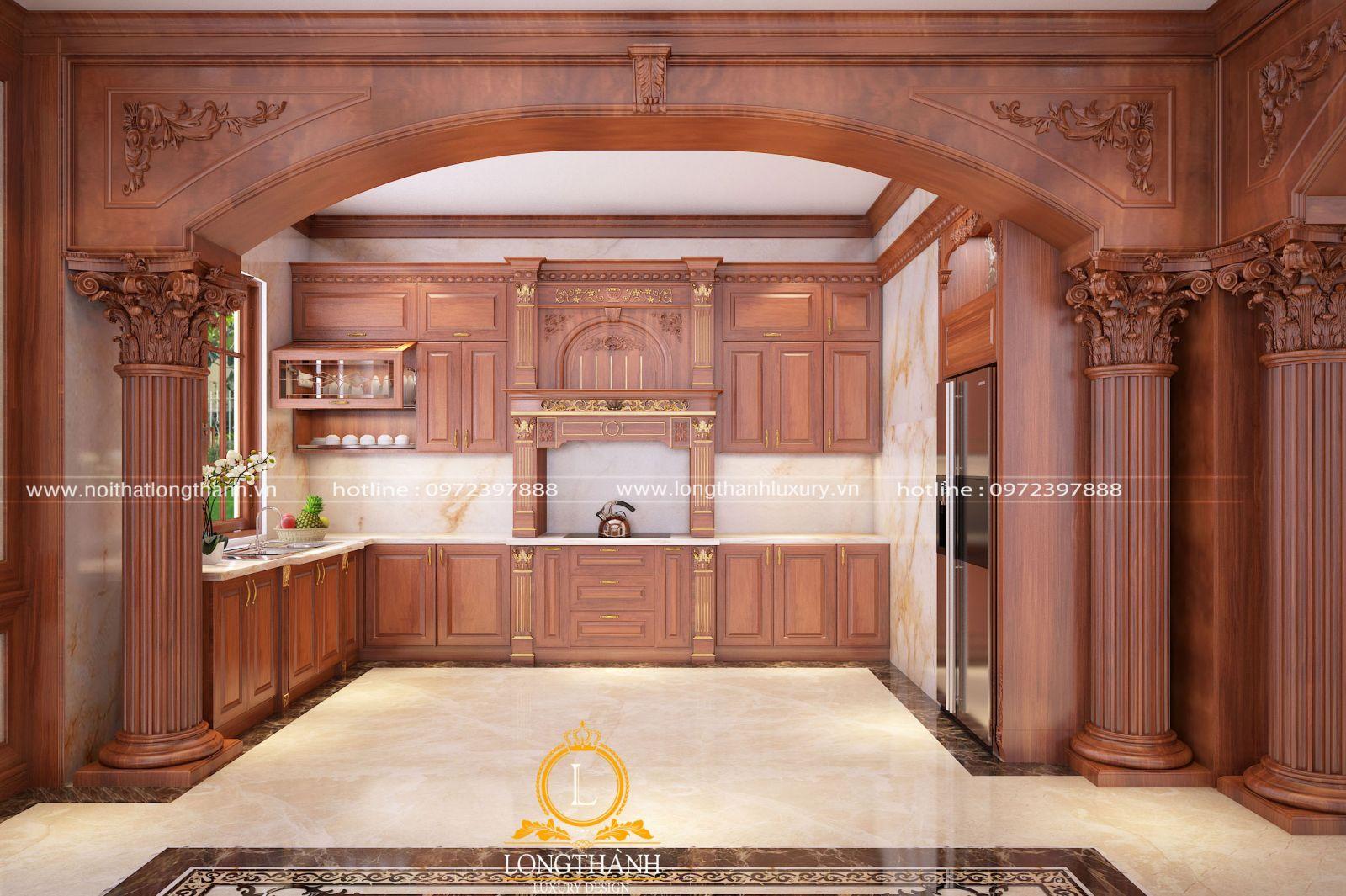 Thiết kế tủ bếp tân cổ điển gỗ Gõ với những đường nét hoa văn tinh tế