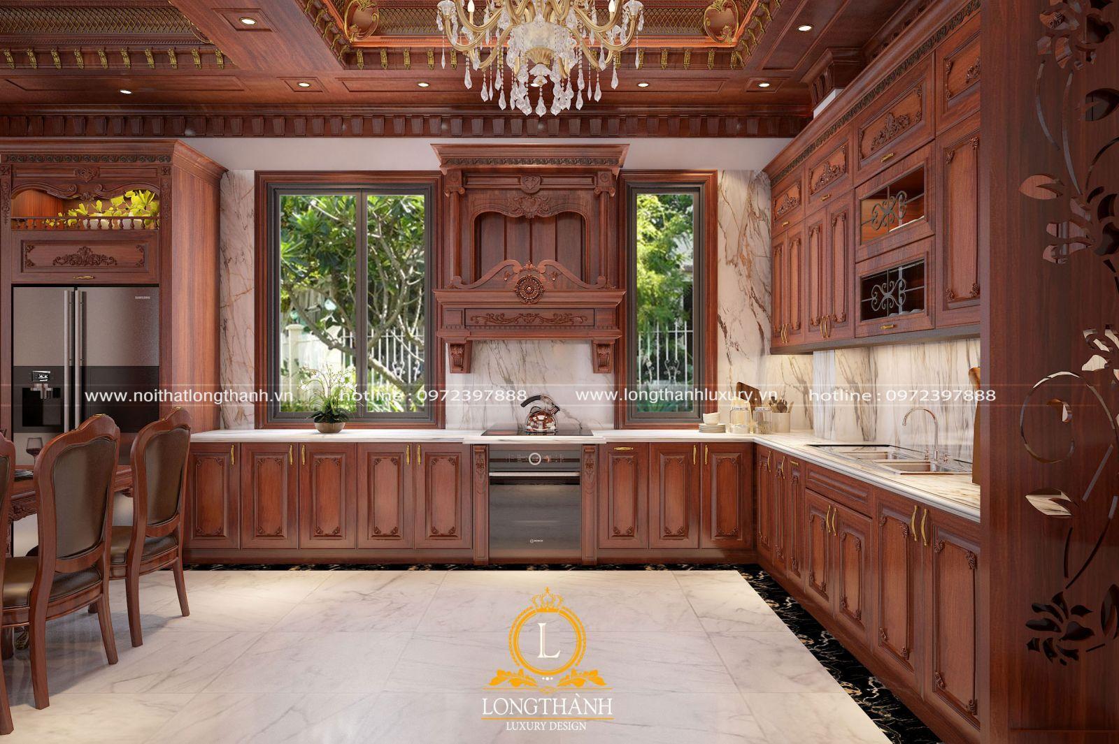 Mẫu tủ bếp gỗ tự nhiên sang trọng cho nhà biệt thự