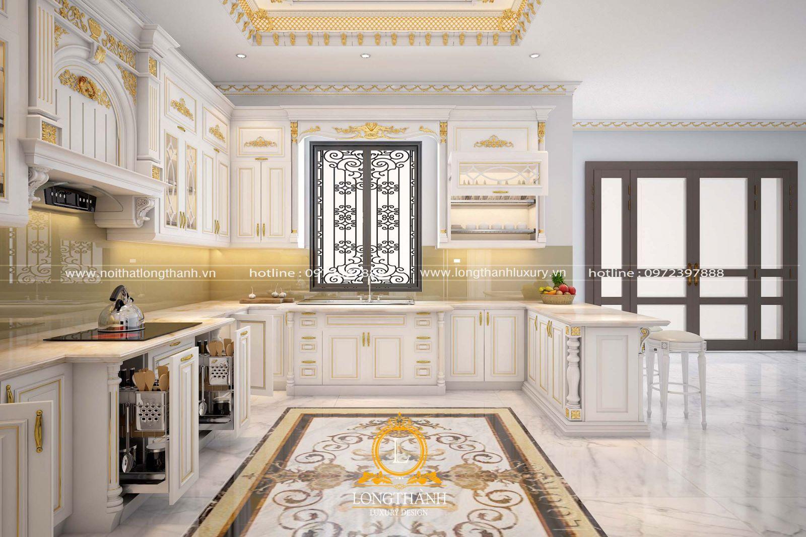 Trang trí bếp bằng mẫu tủ gỗ tự nhiên sơn trắng làm cho căn bếp càng thêm sang trọng, lôi cuốn