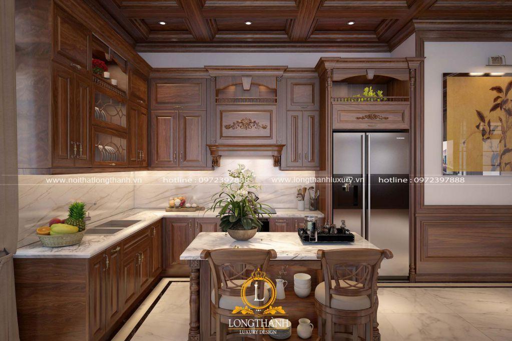 Tủ bếp tân cổ điển gỗ Sồi đồng bộ với nội thất phòng khách