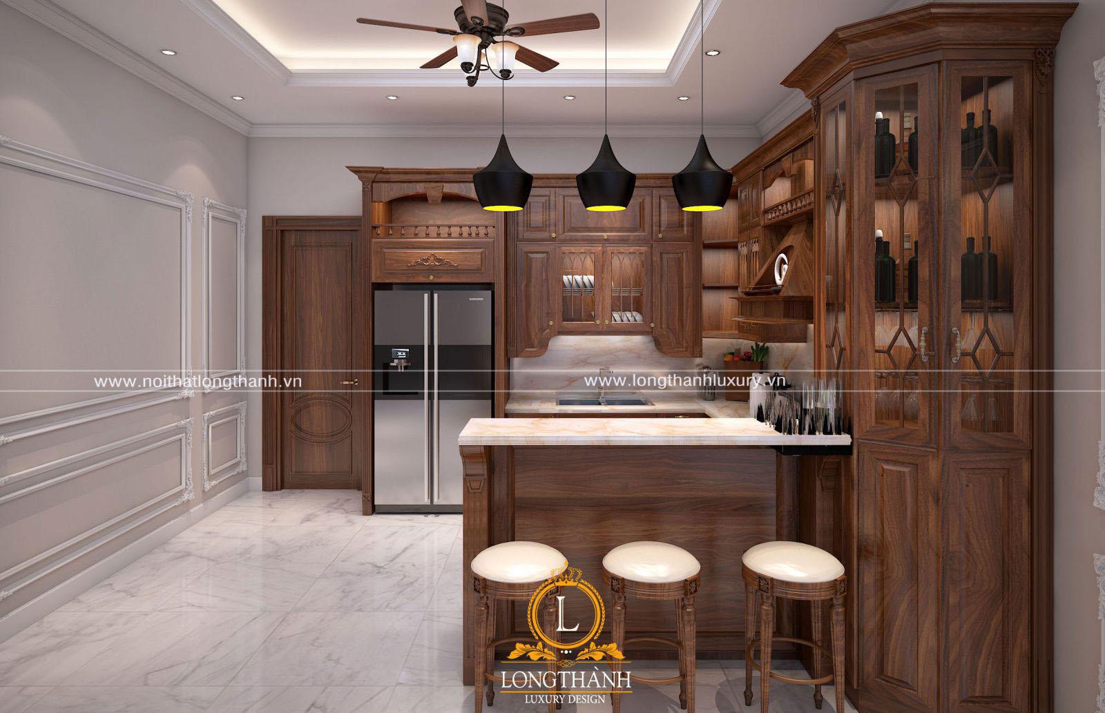 Tủ bếp tân cổ điển cho chung cư