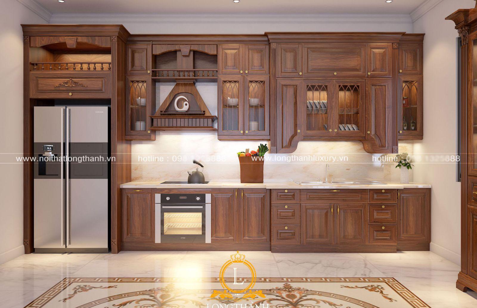Mẫu tủ bếp tân cổ điển chữ I thanh lịch cho nhà biệt thự