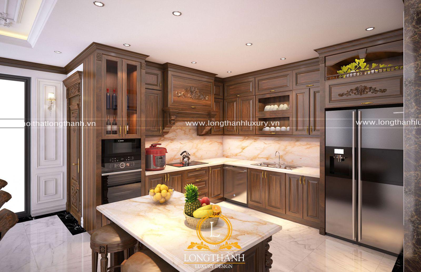 Mẫu tủ bếp tân cổ điển màu nâu trầm