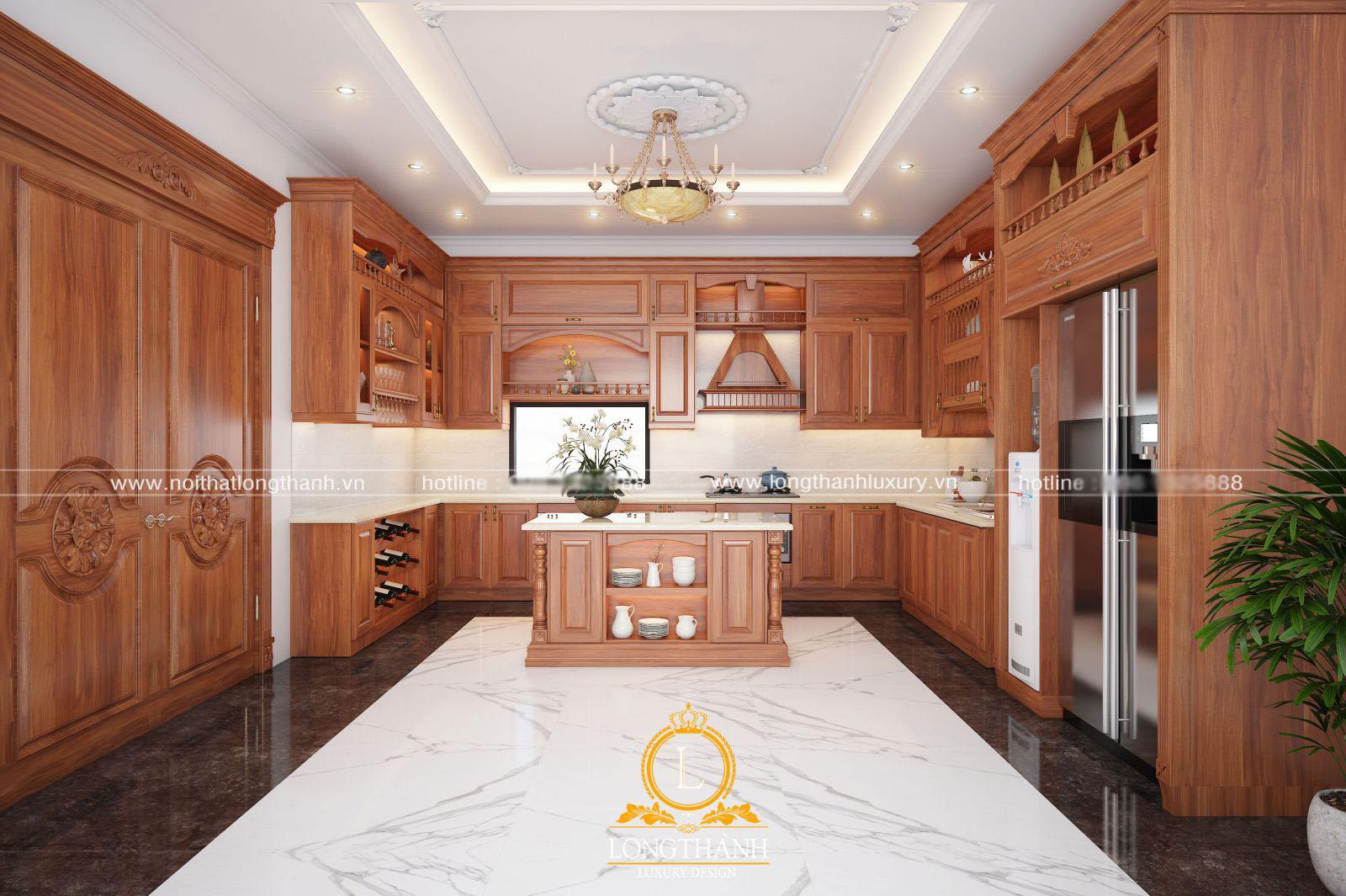 Mẫu tủ bếp Tân cổ điển bằng gỗ gõ đỏ kết hợp bàn đảo cho không gian thêm tiện nghi, sang trọng