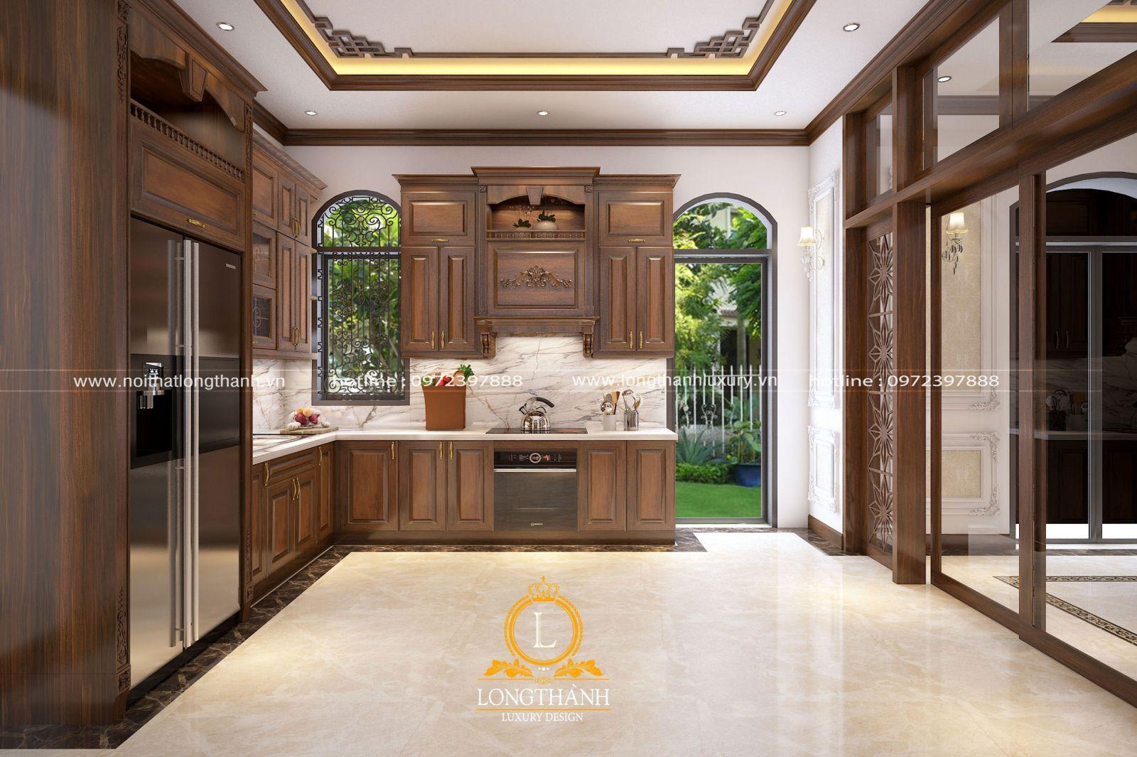 Không gian nhà bếp mang phong cách tân cổ điển được thiết kế độc đáo