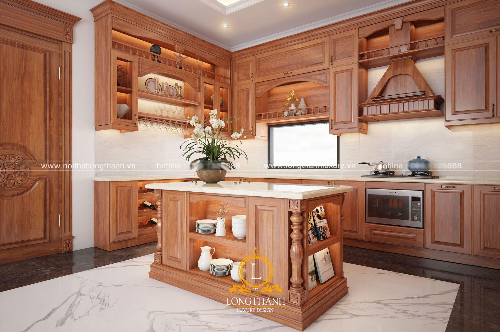 Mẫu tủ bếp tân cổ điển gỗ sồi sơn đỏ cho lựa chọn hợp phong thủy