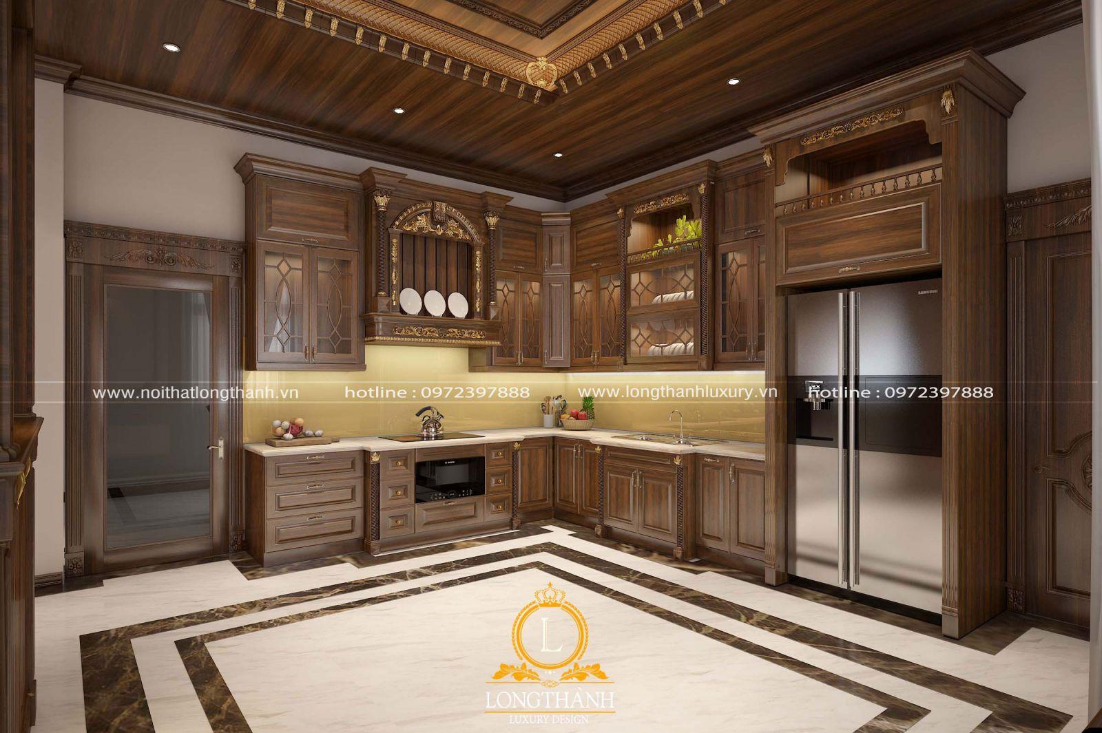 Mẫu thiết kế tủ bếp với chất liệu gỗ Gõ đỏ đẳng cấp