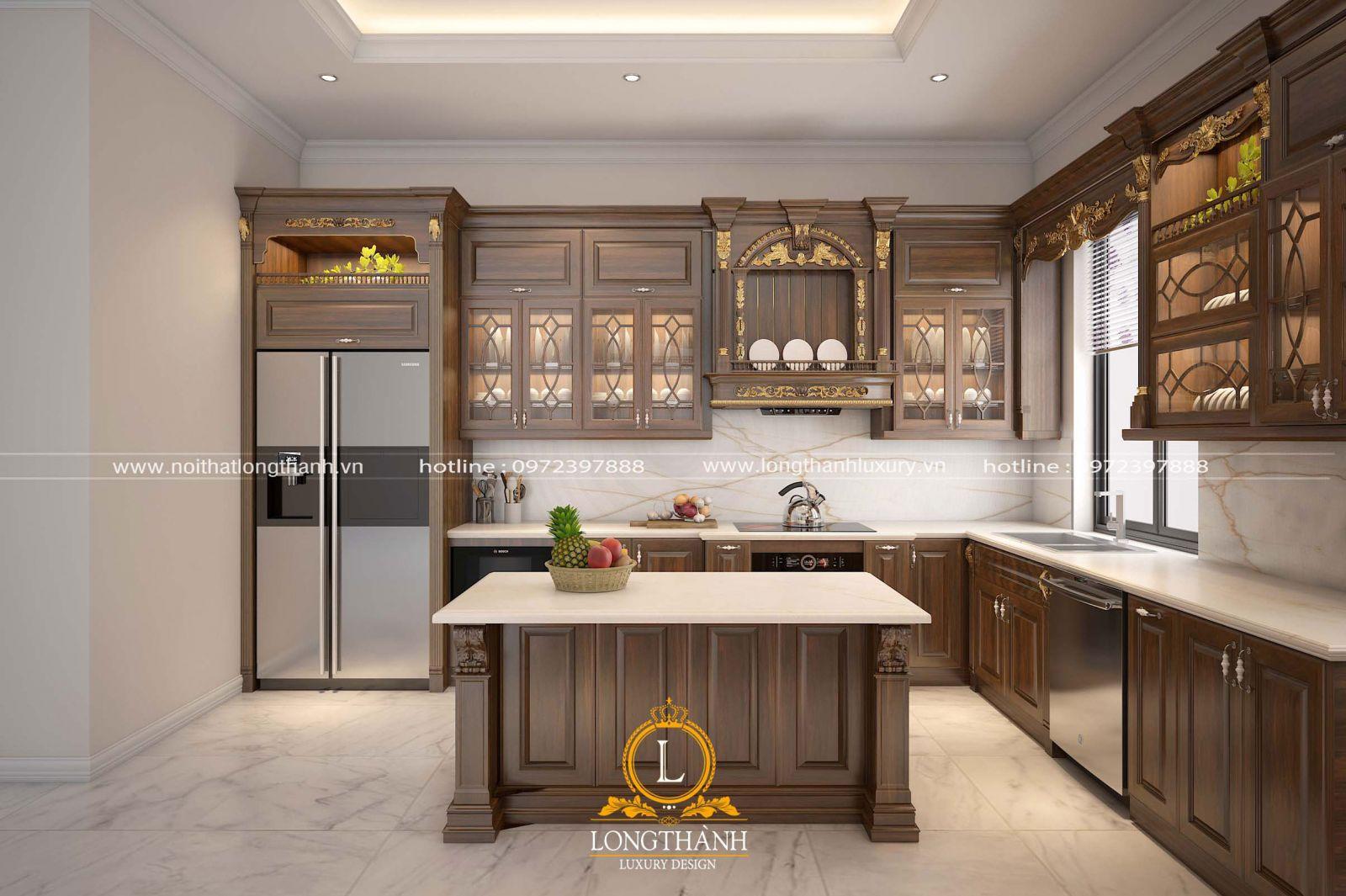 Mẫu tủ bếp với điểm nhấn là hoa văn dát vàng