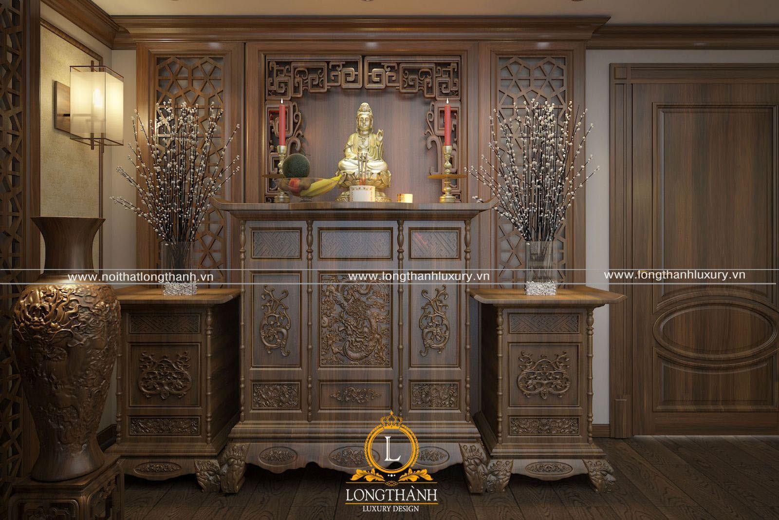 Mẫu thiết kế bàn thờ phật theo kiểu cổ điển truyền thống cho nhà rộng
