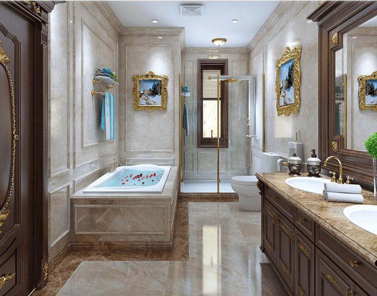 Thiết kế phòng tắm nhà biệt thự theo kiểu cổ điển Châu Âu