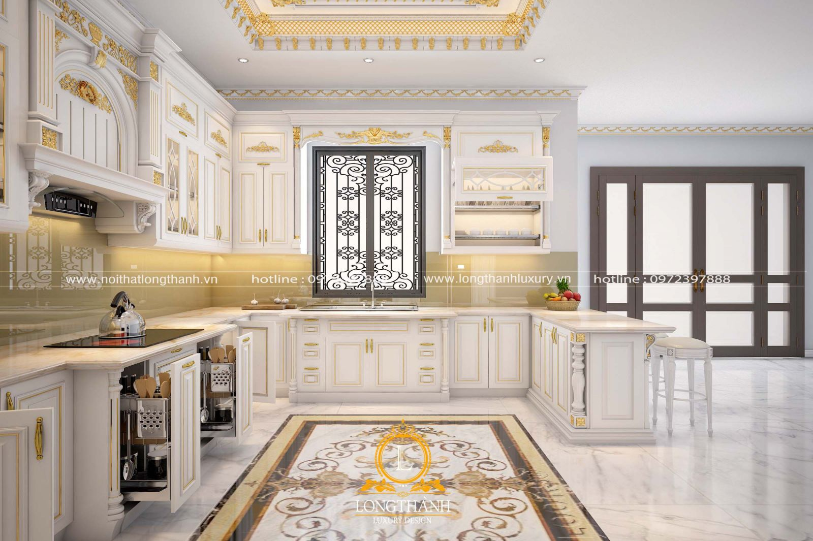 Những cánh tủ bếp tân cổ điển với thiết kế thông minh cho sự tiện nghi