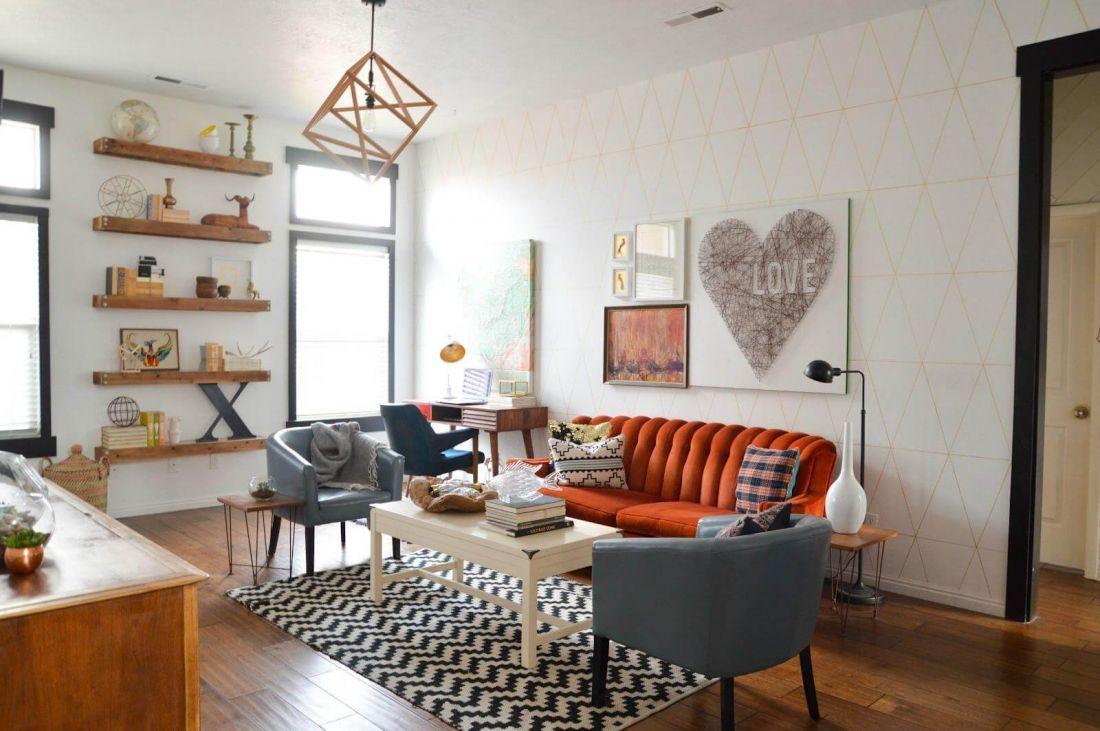 Nỉ, gỗ tự nhiên là những chất liệu phổ biến trong lối thiết kế nội thất retro