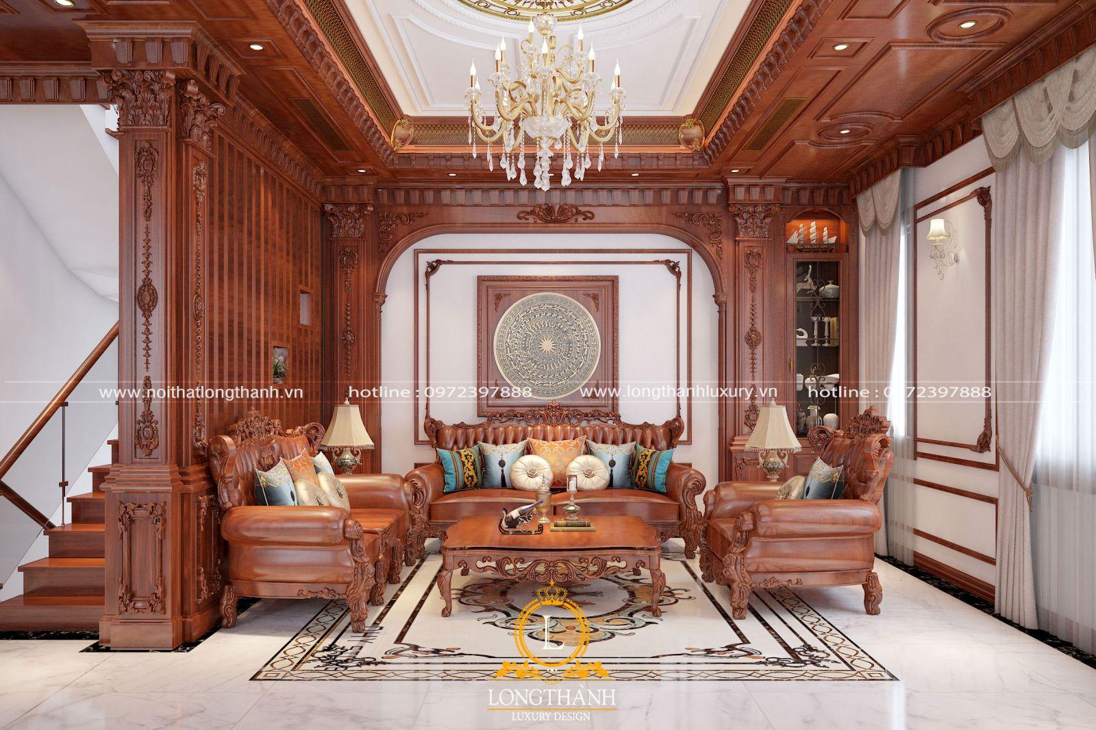 Bộ sofa văng phòng khách được làm từ chất liệu gỗ tự nhiên cao cấp