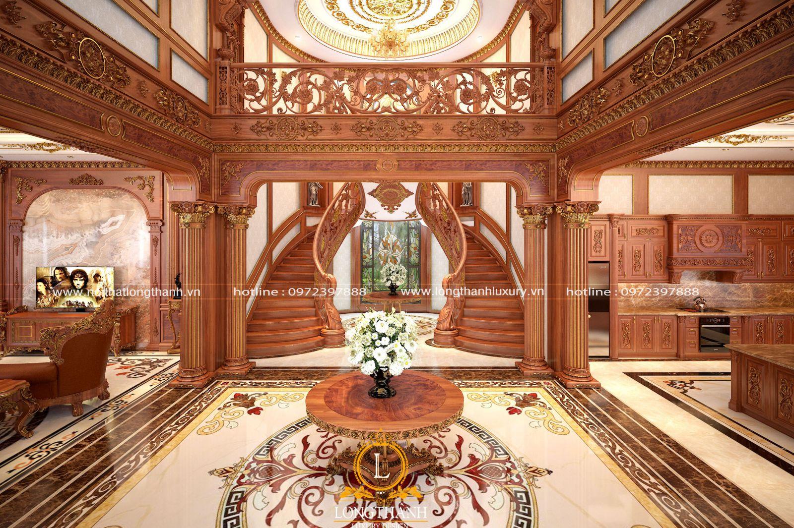 Thiết kế nội thất phòng khách theo kiểu cổ điến sang trọng đầy quyền uy