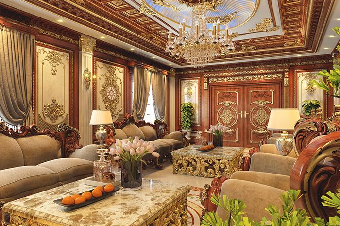 Nội thất cổ điển Pháp cho phòng khách biệt thự