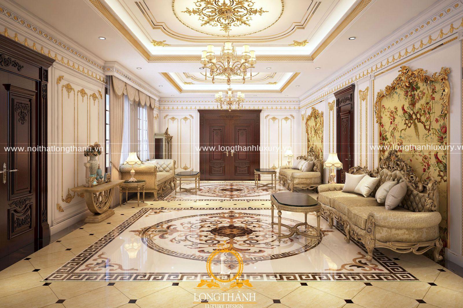 Nội thất dát vàng cho phòng khách cổ điển