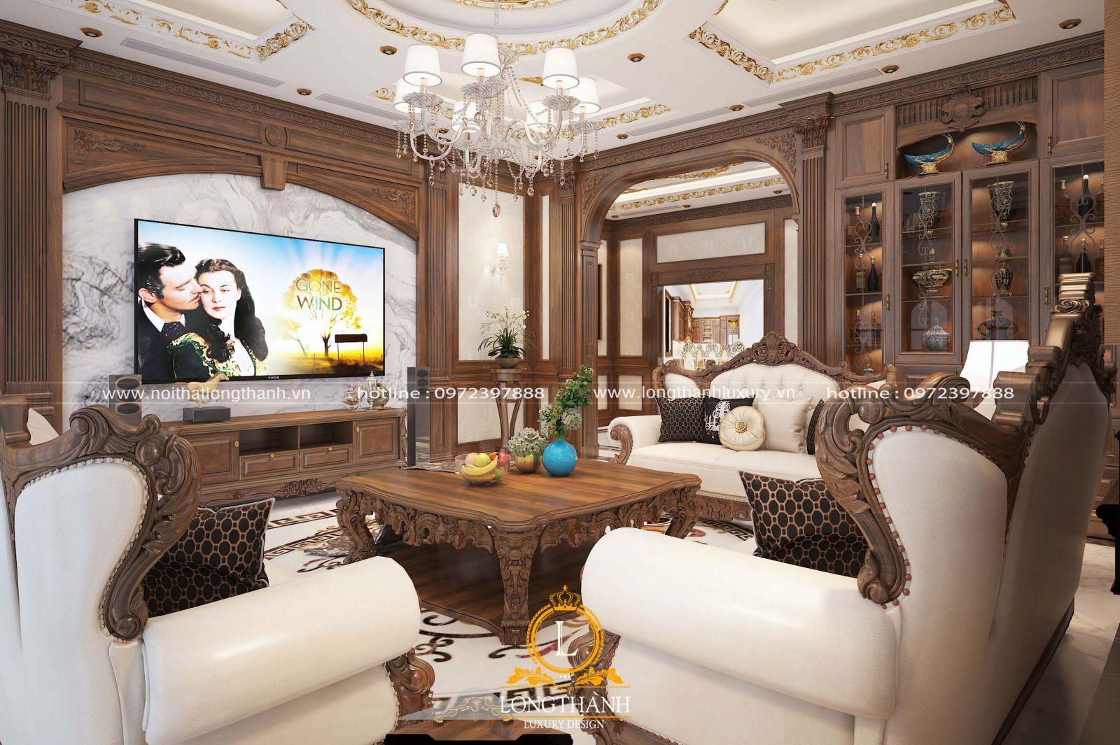 Thiết kế mẫu sofa da bò cho phòng khách cao cấp