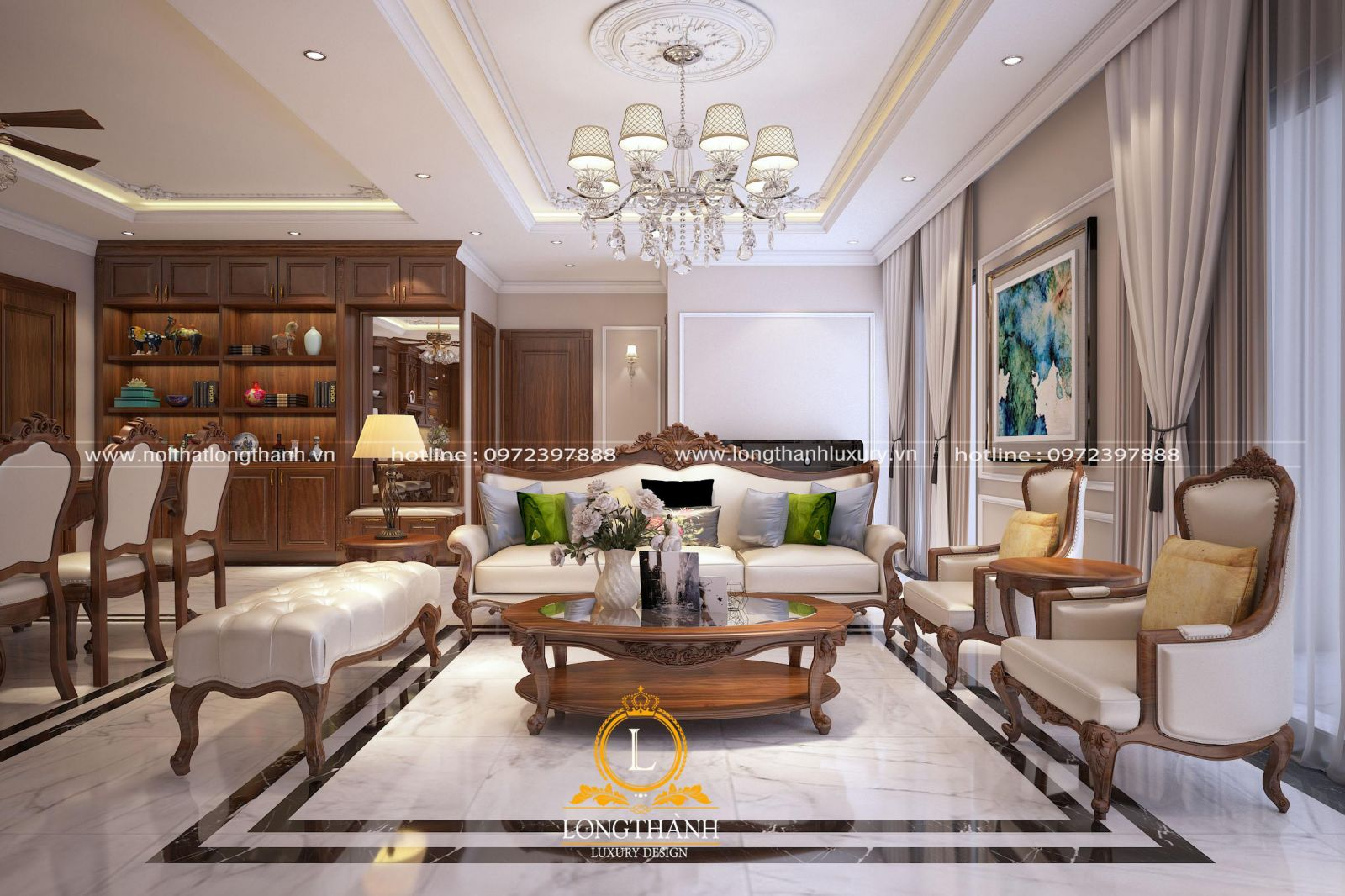 Phòng khách tân cổ điển với thiết kế đơn giản