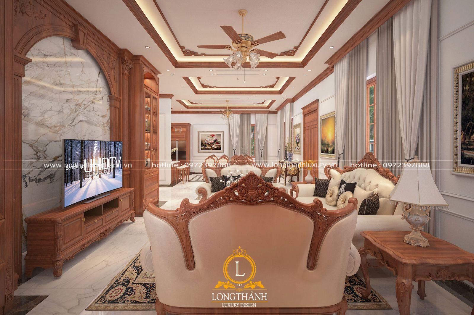 Nội thất gỗ gõ đẹp cho phòng khách tân cổ điển nhà ống