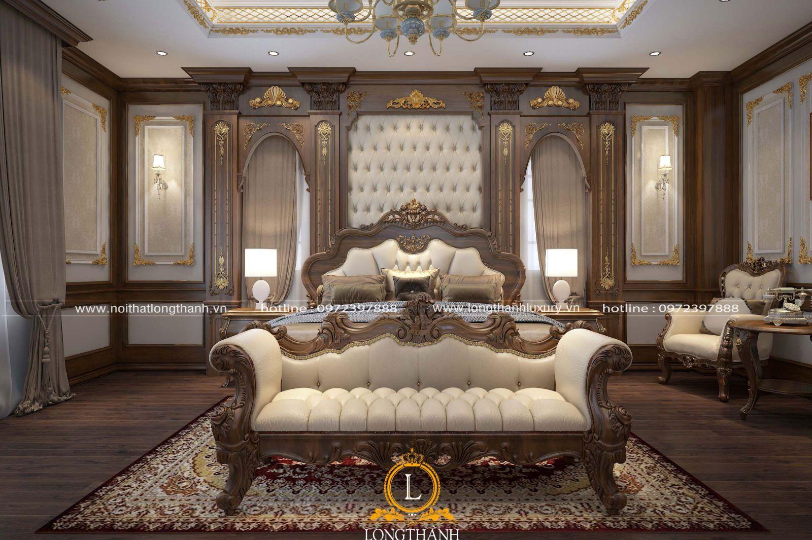 Nội thất phòng ngủ tân cổ điển gỗ Óc chó đang được nhiều người lựa chọn