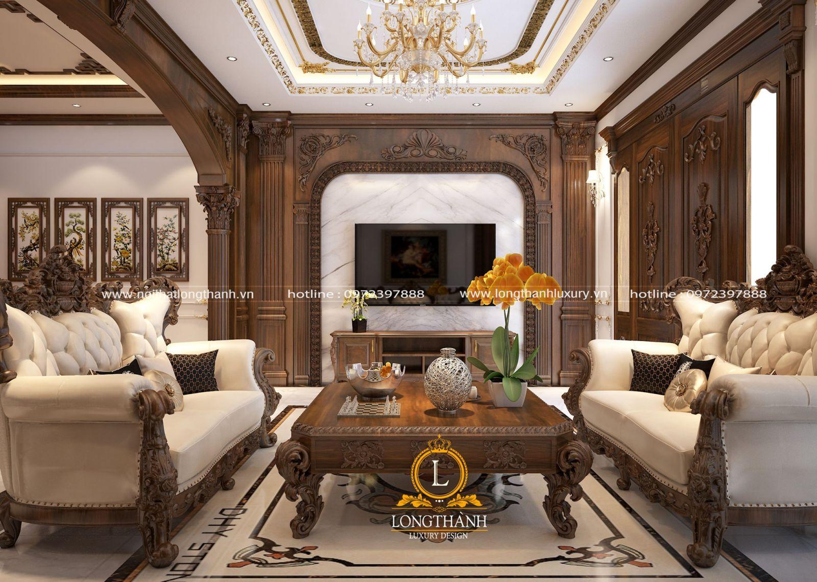 Nội thất gỗ tự nhiên cho phòng khách thêm bề thế