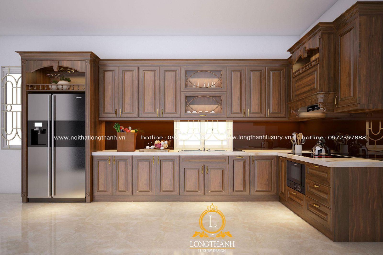 Thiết kế nội thất nhà bếp đẹp theo phong cách tân cổ điển nhẹ nhàng
