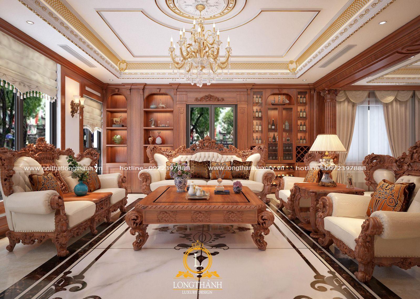 Phòng khách nội thất gỗ gõ đỏ