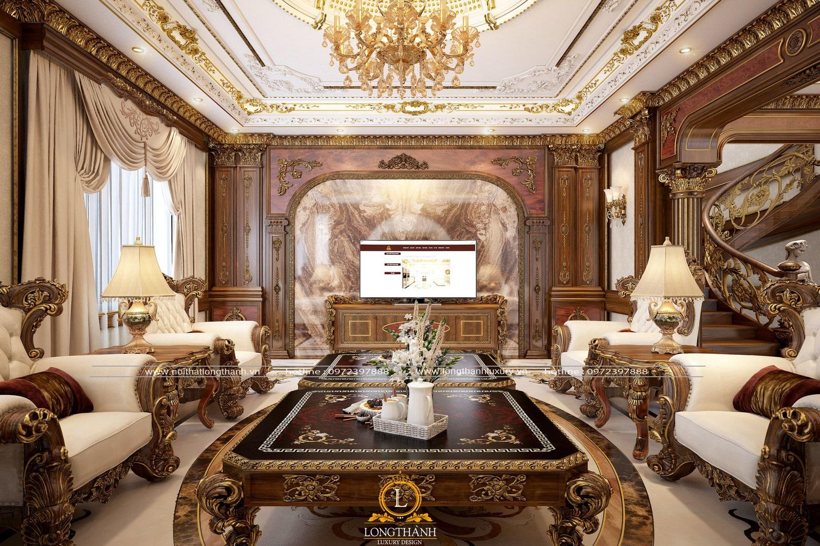 phòng khách biệt thự tân cổ điển đẹp