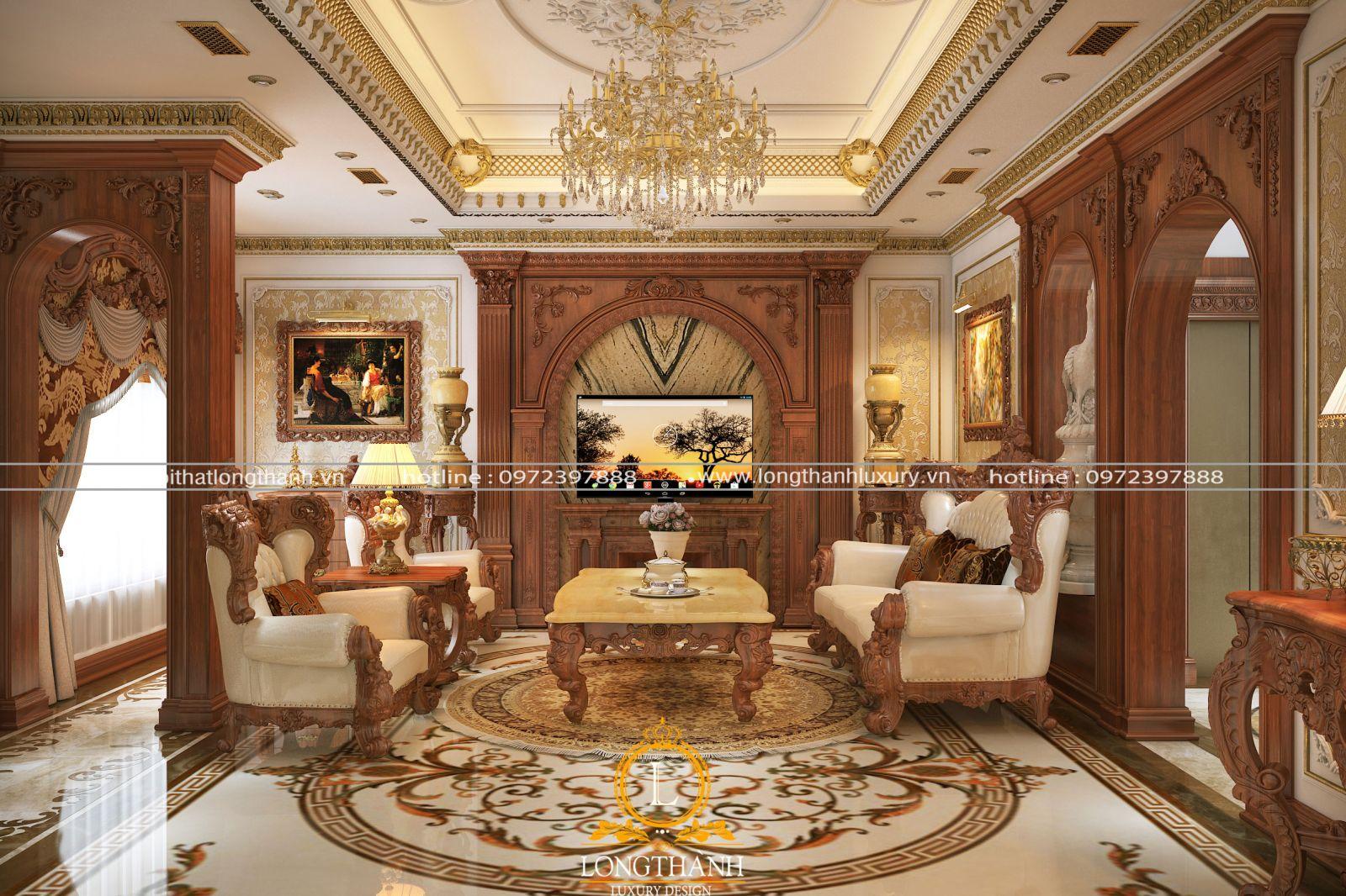 Các diện tường phòng khách tân cổ điển thường sử dụng giấy dán tường cao cấp