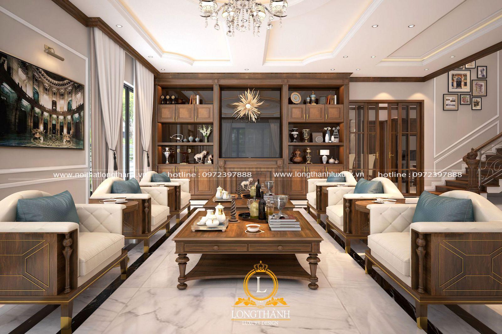 Thiết kế nội thất phòng khách biệt thự sang trọng và tinh tế