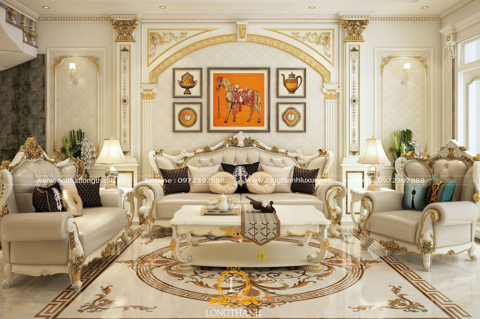 Nội thất phòng khách biệt thự sơn trắng dát vàng cao cấp